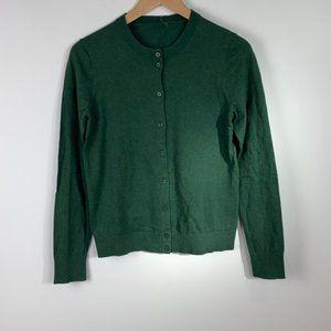 J. Crew classic cotton cardigan sweater dark green
